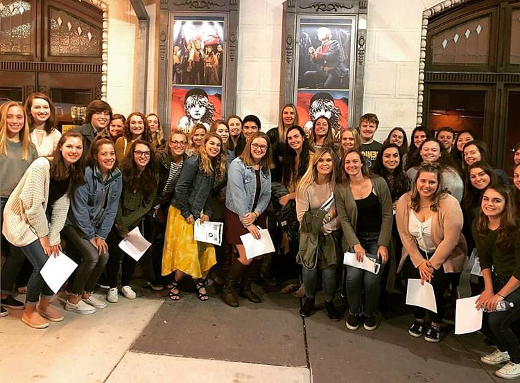 A group of Loyola students at the Hippodrome Theatre