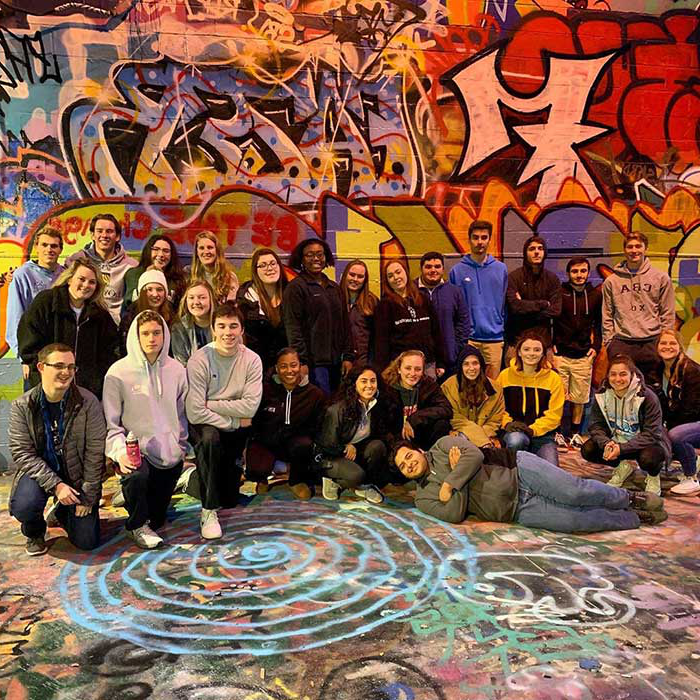A group of Messina students at graffiti alley in Baltimore City