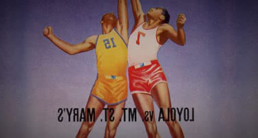 An old illustration of two basketball players jumping for the ball - with Loyola vs Mt St. Mary's written underneath